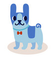 cute cartoon blue bulldog with a bow isolated on vector image