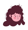 cute young woman face cartoon isolated icon on vector image