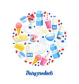 dairy products icons vector image vector image