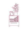 dark red line contour of decorative cabinet table vector image vector image