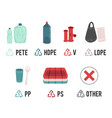 different types plastic recycling symbols and vector image vector image