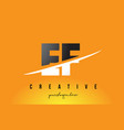ef e f letter modern logo design with yellow vector image vector image