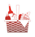 full picnic basket red lines vector image