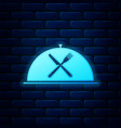 glowing neon cloche with crossed fork and knife vector image vector image