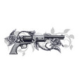 graphic detailed old revolver with roses vector image vector image