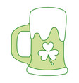 green beer glass foam and clover vector image vector image