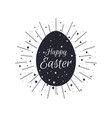 happy easter egg with rays black and white color vector image