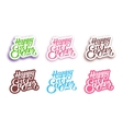 Happy Easter hand lettering labels vector image vector image
