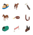 horse stable icons set isometric style vector image vector image