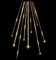 laser beams with stars and sparks golden color vector image vector image