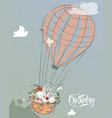 little hares fly with balloon vector image