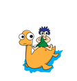 Man and dinosaur cartoon vector image vector image