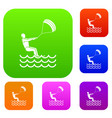 man takes part at kitesurfing set collection vector image vector image