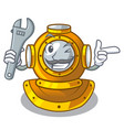 mechanic diving helmet on a cartoon table vector image vector image