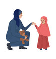 muslim mother and daughter middle eastern family vector image