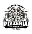 pizzeria vintage emblem or logo with pizza vector image
