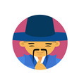 portrait of asian man with mustache and hat vector image vector image
