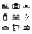processing factory icons set simple style vector image vector image