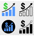 profit up trend chart eps icon with contour vector image