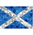 scottish flag made of hearts background vector image vector image