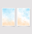 sea blue sky and sand beach watercolor background vector image vector image