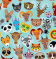 Seamless pattern cute face funny animals on blue vector image vector image