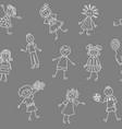 seamless pattern happy smiling children vector image
