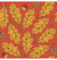 Seamless texture with leaves and flowers on red