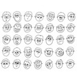 set cartoon male boy faces vector image vector image
