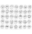 set of cartoon male boy faces vector image vector image