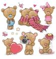 Set of Cute Cartoon Teddy Bear vector image vector image