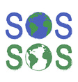 Sos scratch grunge graffiti print sign with planet vector image vector image