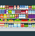 store shelves with products background vector image vector image