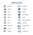 survival guide icons vector image vector image