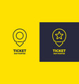 ticket pointer icon on background vector image vector image