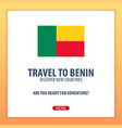 travel to benin discover and explore new vector image vector image
