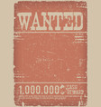 wanted poster on red grunge background vector image vector image