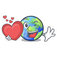 with heart picture of the cartoon langait earth vector image