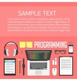 Workplace programmer desktop top view vector image vector image