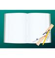 Open copy book with school supplies vector image