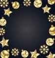 Christmas Frame of Golden Balls Stars Snowflakes vector image