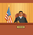 judge black man in courtroom flat vector image