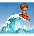 A boy surfing in the waves vector image