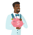 african-american groom holding a piggy bank vector image vector image