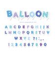 balloon stripped blue font cute abc letters and vector image vector image