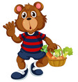 bear holding basket vegetable vector image