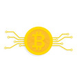 bitcoin digital currency icon with circuit board vector image vector image