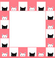 black white cat chess board border pink background vector image