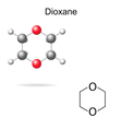 Chemical formula and model of dioxane vector image vector image