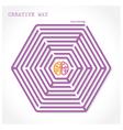 Creative hexagon maze way concept vector image